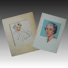 2 Original Vintage Lloyd Rognan Illustrations Portraits Women Ladies Listed Artist