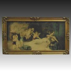 19c Antique Victorian Cherub Putti Print in Fancy Wood & Gesso Frame