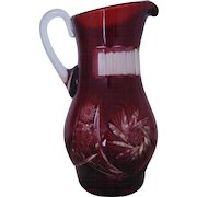 Vintage Bohemian Czech Ruby Red Glass Pitcher Cut to Clear Exceptional
