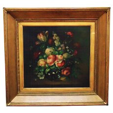 Early 20c. Flemish Still Life Oil Painting Flowers Floral Roses Bouquet Signed Dorothy E. Cooper w/ Gilt Wood & Gesso Frame Antique