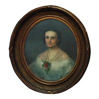 19th c. Victorian Pastel Portrait Young Lady Woman Antique Federal Frame Gilt Wood & Gesso Painting