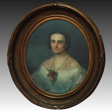 19th c. Victorian Pastel Portrait Young Lady Woman Antique Federal Frame Gilt Wood & Gesso