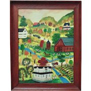 Vintage Janet Munro Folk Art Oil Painting Fishing on Oaks Creek Otsego County, New York, Signed Primitive
