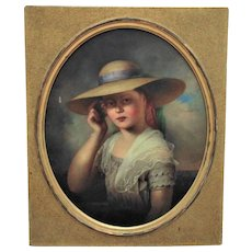 19th c. Victorian Portrait Painting Girl Child Oil on Canvas Fisherman's Daughter Albert Fitch Bellows w/ Gilt Wood Antique Frame American School