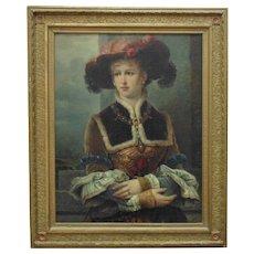 19th c. Victorian Portrait Painting Woman Aristocratic Lady European School Oil on Canvas Antique Gilt Wood & Gesso Aesthetic Eastlake Frame