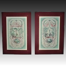 Pair French Engravings After Jean Antoine Watteau Interior Decorator Designer Prints