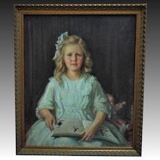Antique Portrait Painting of Leila Roosevelt by Frank Chester Perry c. 1914 Girl Child Oil on Canvas Cousin of Theodore Roosevelt