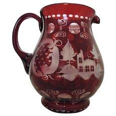 Vintage Bohemian Ruby Red Etched Glass Water Pitcher Deer Czech Czechoslovakian
