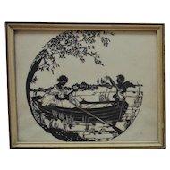 Antique Victorian Silhouette Lady & Cherub Putti Romantic Serenade Folk Art