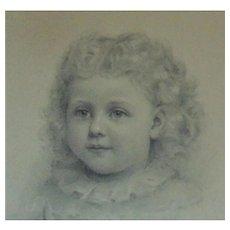 Antique Little Girl Portrait Child Drawing Illustration Signed & Framed