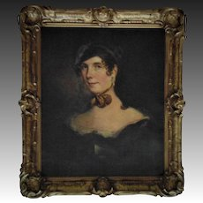 19th c. Victorian Portrait Painting Young Lady Girl Woman in Gilt Wood & Gesso Frame Antique