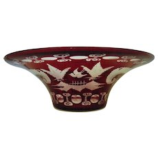 Vintage Bohemian Ruby Red Etched Glass Bowl w/ Bird Deer Czech Czechoslovakian