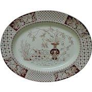 19th c. Aesthetic Eastlake Turkey Platter W. T. Copeland Brown Transferware England English