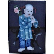 Antique Chinese Reverse Painting on Glass Boy & Dog Asian Oriental