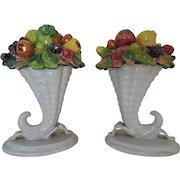 Pair Vintage Italian Fruit Cornucopia Baskets Faience Majolica Italy Mid Century Modern Horn of Plenty Candy Dishes Bowls