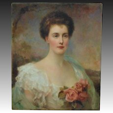 19th c Portrait Painting of  Lady Woman w/ Roses Signed Edward Hughes Victorian Antique c. 1897 Oil on Canvas Johanna Heckscher Burnham