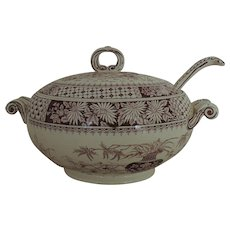 19th c. Copeland Brown Transferware Covered Casserole Soup Tureen w/ Ladle Aesthetic Eastlake English England Victorian