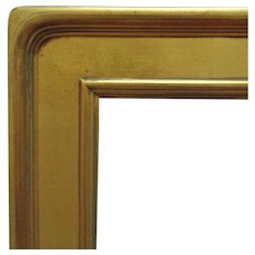 """Vintage Arts & Crafts Style Picture Frame Gilt Lemon Gold Wood 30"""" x 24"""" Opening Mission Bungalow for Painting Print Mirror"""