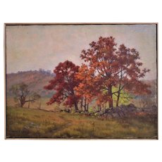 Autumn Landscape Painting Oil on Canvas Signed Frank Chester Perry