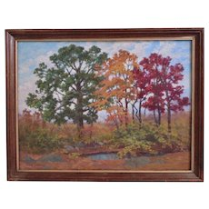 Autumn Landscape Painting Oil on Board Signed Frank Chester Perry
