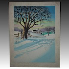 Vintage Lloyd Rognan Watercolor Painting Landscape Winter Scene Listed Artist Illustration Art