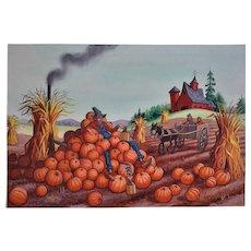 Vintage Watercolor Painting Pumpkin Farm & Whiskey Still Signed Lloyd Rognan Illustration Art
