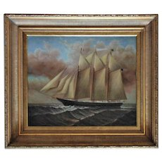 Clipper Ship Painting Oil on Canvas Signed D. Tayler Listed Artist Nautical Maritime American & French Flags Sailing Schooner