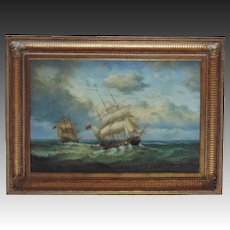LARGE Clipper Ship Painting Oil on Canvas Signed Robinson Jones Listed Artist Nautical Maritime Sailing Schooner