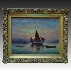 Antique Painting Sailing Ship Harbor Maritime Nautical Oil on Canvas Signed C. Myron Clark c. 1907 in Fancy Gilt Wood & Gesso Frame