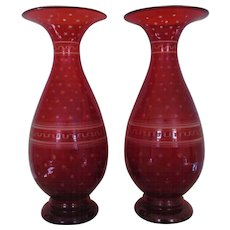 Pair Antique Bohemian Vases Ruby Red Glass Hand-Blown w/ Etched Design Czech Czechoslovakian