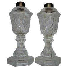 Antique Pair 19c Flint EAPG Glass Whale Oil lamp Heart & Waffle Pattern Victorian