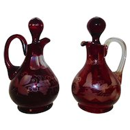 Pair Vintage Bohemian Ruby Red Glass Cruets Bottles Etched Deer Buck Grapes Leaves Czech Czechoslovakian