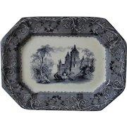 Small 19c Antique  Mulberry Platter T J & J Mayer Rhone Scenery Transferware Ironstone Flow Blue