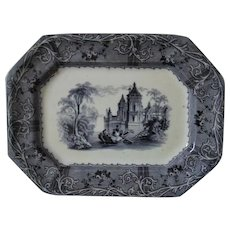Small 19c Antique  Mulberry Platter T J & J Mayer Rhone Scenery Transferware Ironstone Flow Blue