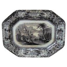 19c Mulberry Platter Alcock Pottery Loretta Pattern Staffordshire England Antique Ironstone Transferware
