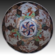 Large 19th c. Antique Japanese Imari Porcelain Bowl Asian Oriental