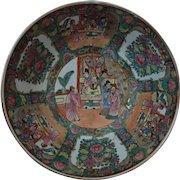 Large 19th c. Antique Chinese Export Rose Medallion Porcelain Bowl Asian Oriental