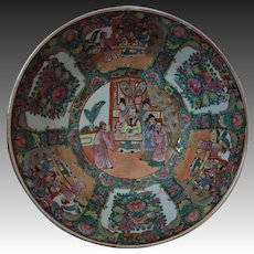 Large 19th c. Antique Chinese Export Rose Medallion Porcelain Bowl Asian Oriental