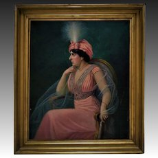 Antique Portrait Painting Lady Woman Oil on Canvas Signed Heinrich Michaelis c. 1911 German