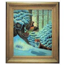 American School Oil on Canvas Fox Hunting Game in Winter in Gilt Wood Frame Bird Fowl Painting Folk Art