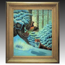 American School Oil on Canvas Fox Hunting Game in Winter in Gilt Wood Frame Bird Fowl Painting Folk Art