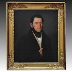 19th c. Portrait Painting of Gentleman Continental School Oil on Canvas in Antique Gilt Wood & Gesso Frame Victorian Man