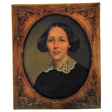 19th c. Portrait Painting Woman Lady Victorian Antique American School Oil on Canvas w/ Ornate Gilt Wood & Gesso Frame