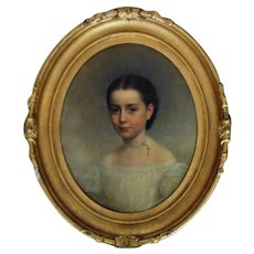 19th c. Portrait Painting Girl Child Antique Victorian Oil on Canvas James Henry Beard Listed Artist
