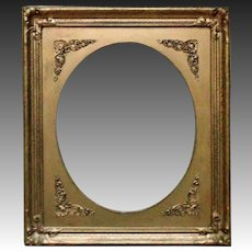 19th c.  Picture Frame Gilt Wood & Gesso Victorian Art Nouveau for Antique Painting Photograph or Print