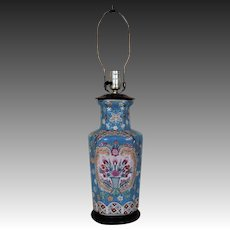 Vintage Chinese Blue Lamp Hand Enameled Flowers & Butterfly Asian Oriental Vase Form