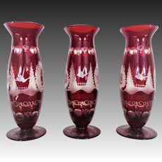 3 Vintage Bohemian Bud Vases Hand-Blown Ruby Glass with Birds Czech Czechoslovakian