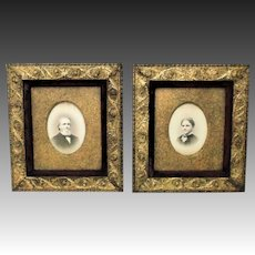Pair 19 c Picture Frames & Portrait Photographs Gilt Wood & Gesso Antique Arts & Crafts Mission Bungalow Martin Luther and Frances Augusta Phelps Clapp