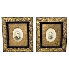 Pair 19 c Picture Frames & Portrait Photographs Gilt Wood & Gesso Antique Arts & Crafts Mission Bungalow Martin Luther and Frances Augusta Phelps Clapp