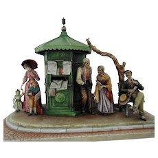 HUGE Antonio Borsato Group Sculpture NEWS KIOSK Italian Italy